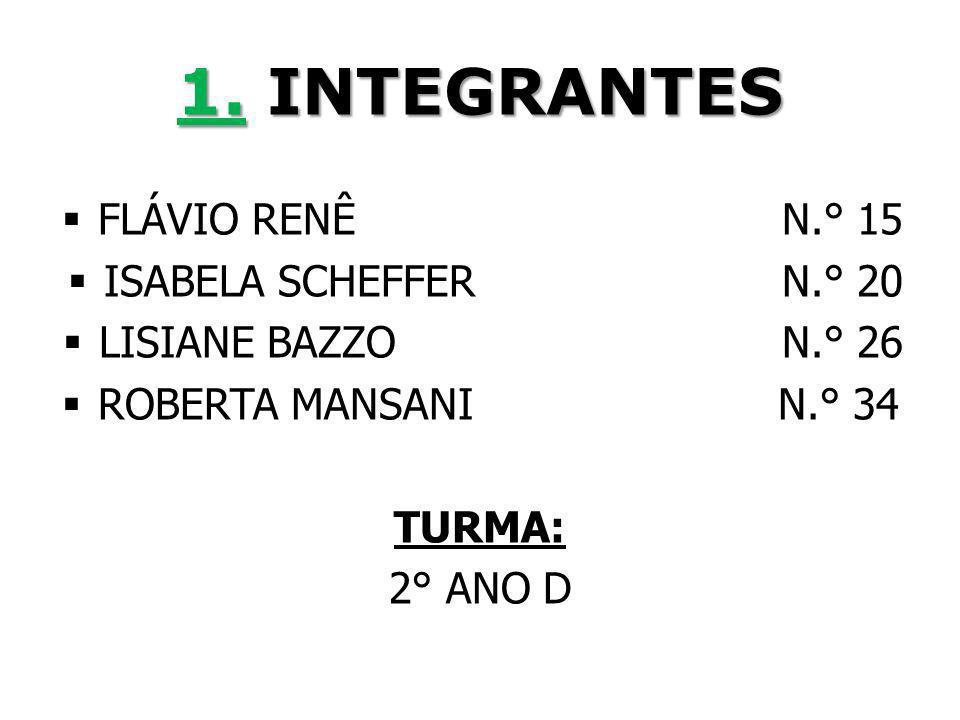 1. INTEGRANTES FLÁVIO RENÊ N.° 15 ISABELA SCHEFFER N.° 20