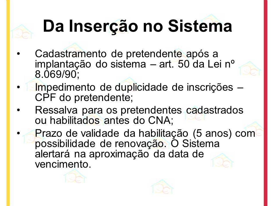 Da Inserção no Sistema Cadastramento de pretendente após a implantação do sistema – art. 50 da Lei nº 8.069/90;