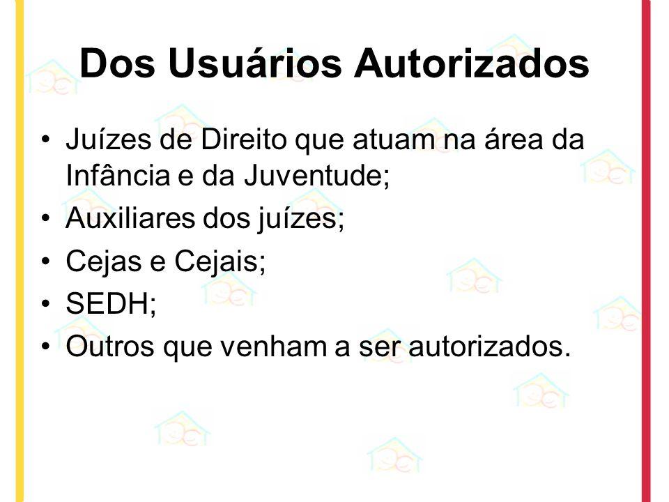Dos Usuários Autorizados