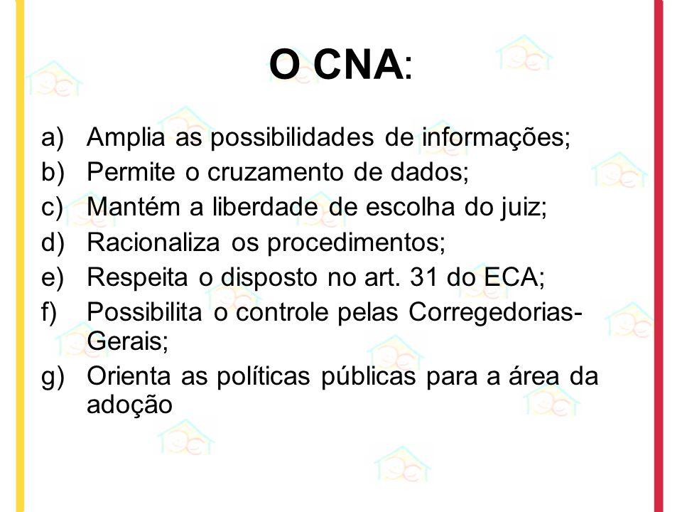 O CNA: Amplia as possibilidades de informações;
