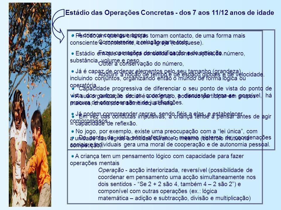 Estádio das Operações Concretas - dos 7 aos 11/12 anos de idade