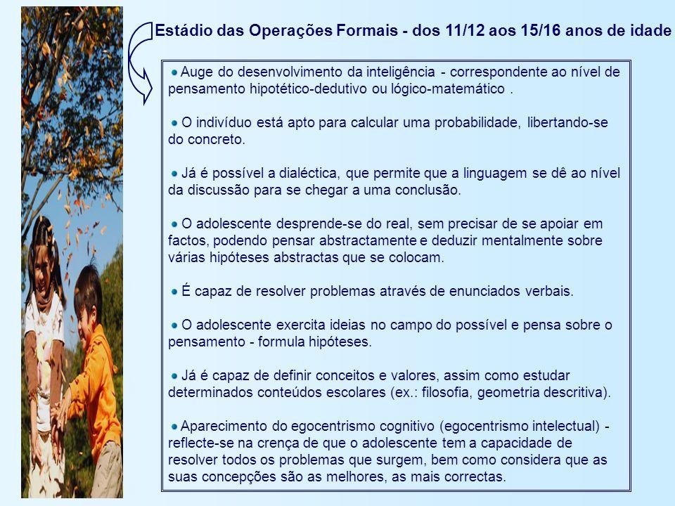 Estádio das Operações Formais - dos 11/12 aos 15/16 anos de idade