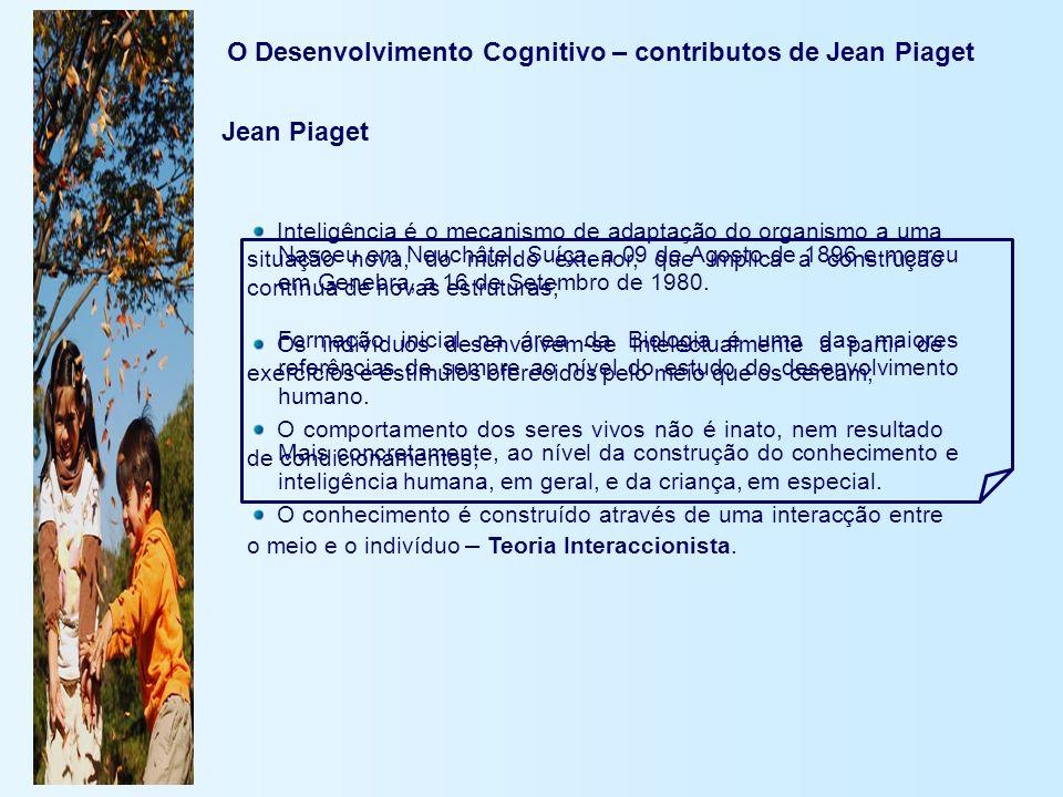 O Desenvolvimento Cognitivo – contributos de Jean Piaget