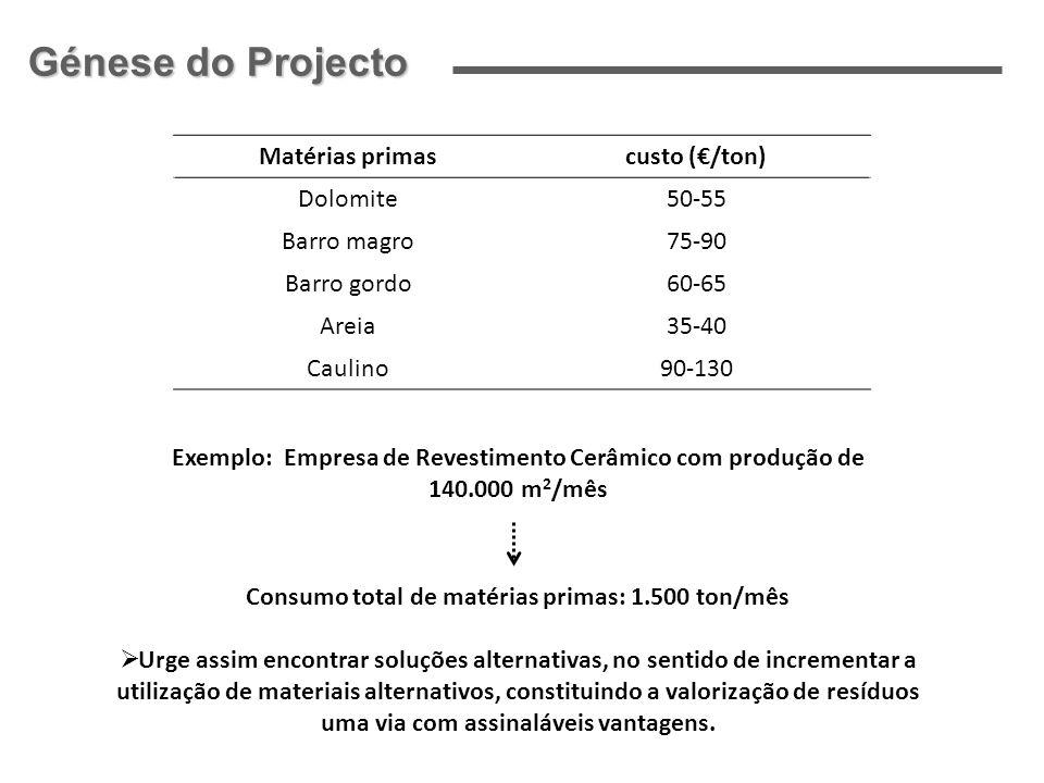 Génese do Projecto Matérias primas custo (€/ton) Dolomite 50-55