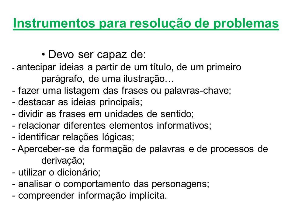 Instrumentos para resolução de problemas
