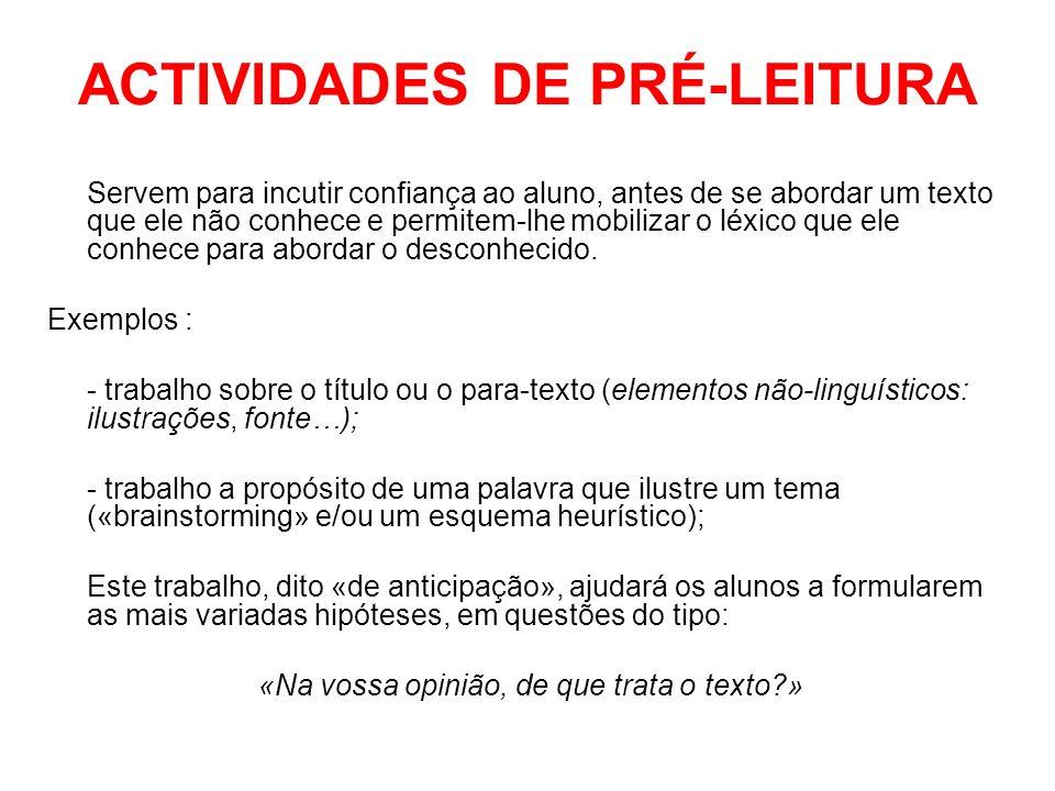 ACTIVIDADES DE PRÉ-LEITURA