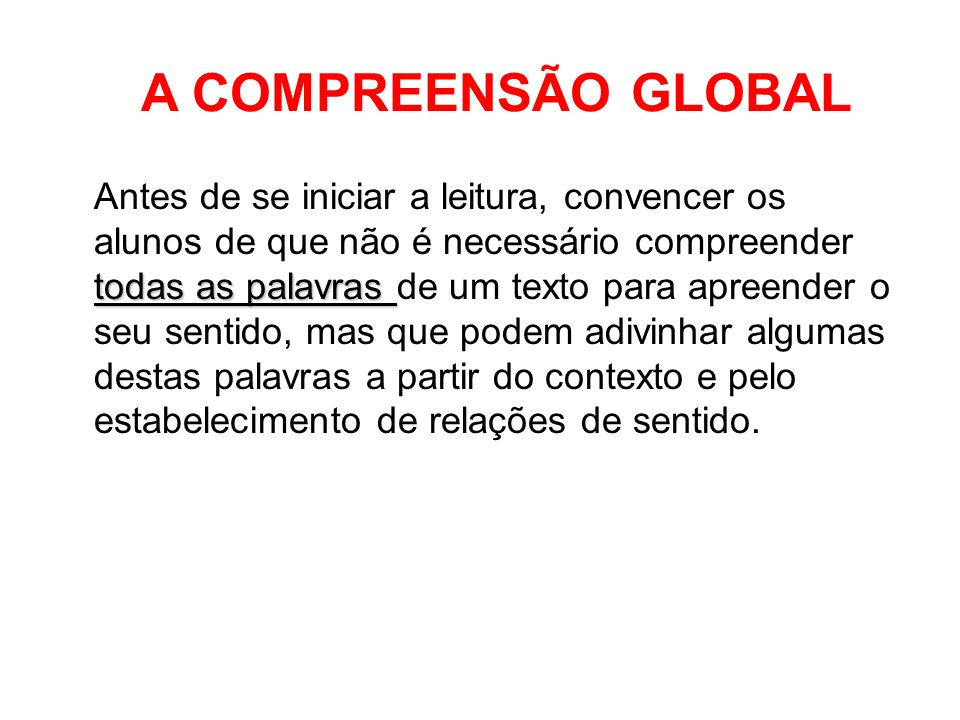 A COMPREENSÃO GLOBAL