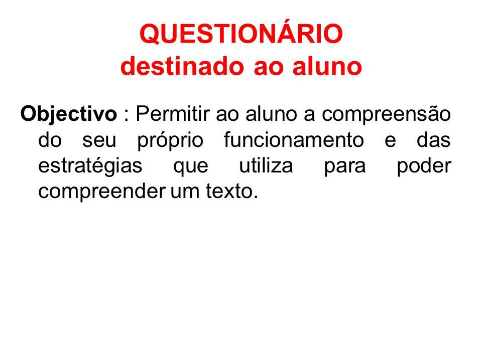 QUESTIONÁRIO destinado ao aluno
