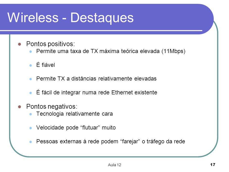 Wireless - Destaques Pontos positivos: Pontos negativos: