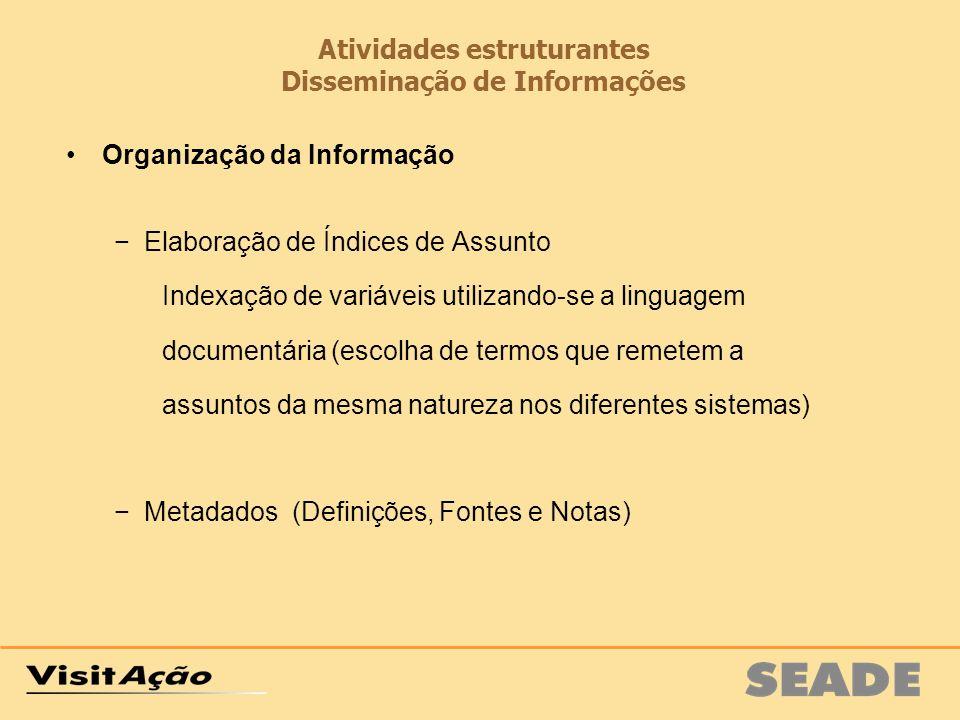 Atividades estruturantes Disseminação de Informações