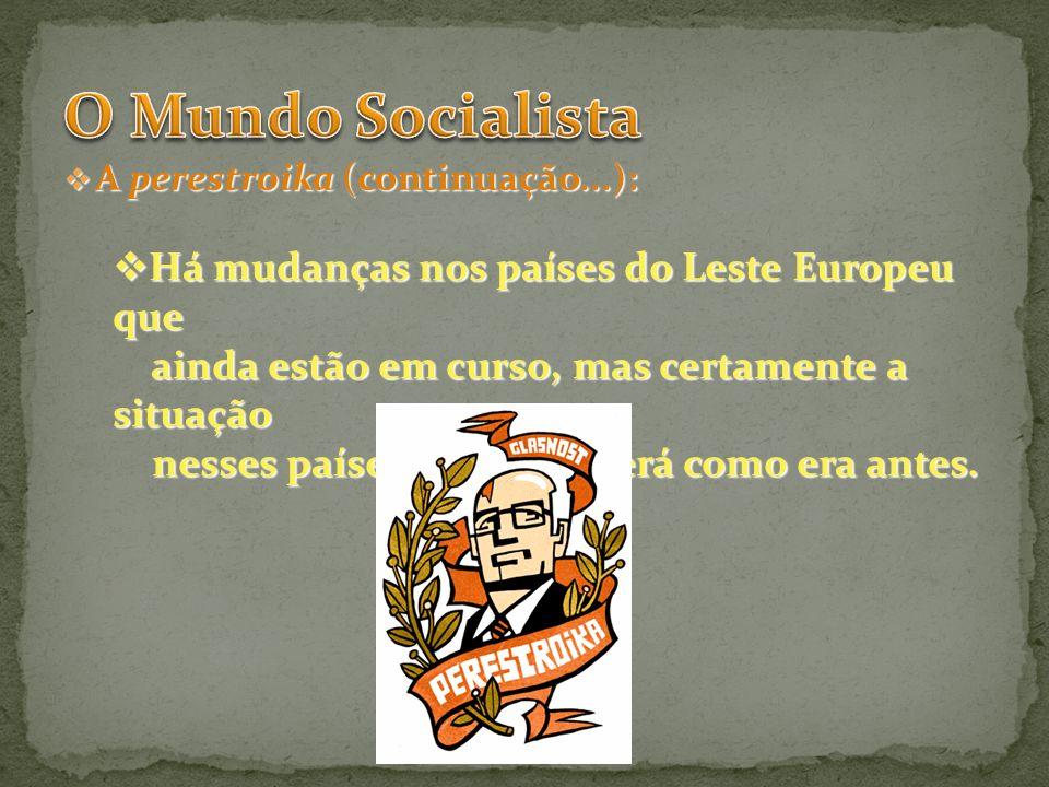 O Mundo Socialista Há mudanças nos países do Leste Europeu que