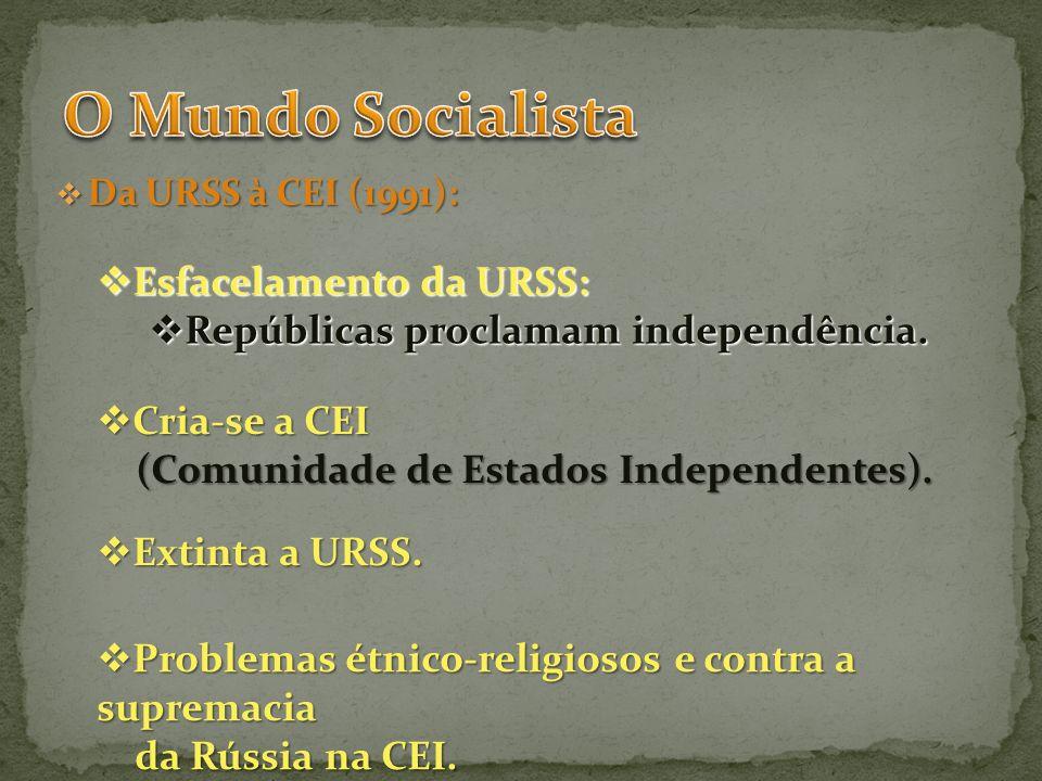 O Mundo Socialista Esfacelamento da URSS: