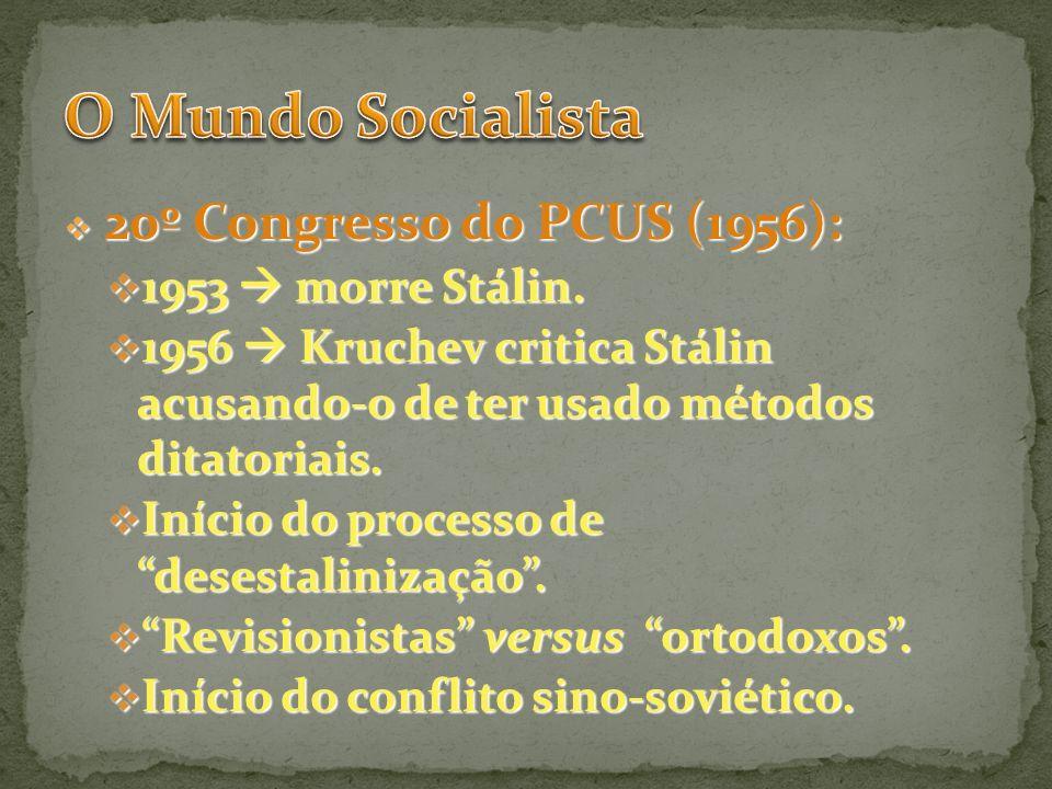 O Mundo Socialista 1953  morre Stálin.