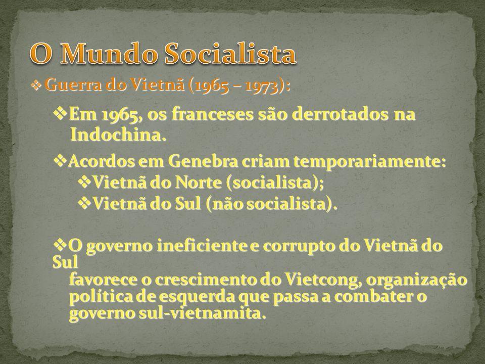O Mundo Socialista Em 1965, os franceses são derrotados na Indochina.