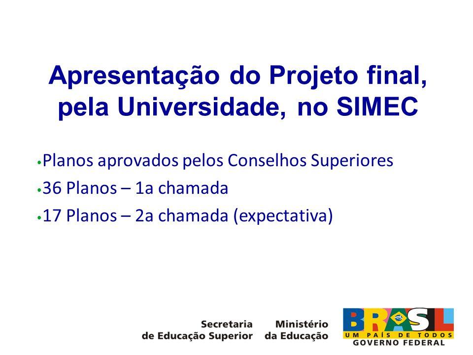 Apresentação do Projeto final, pela Universidade, no SIMEC