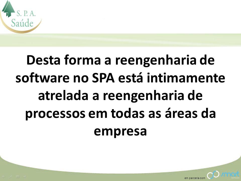 Desta forma a reengenharia de software no SPA está intimamente atrelada a reengenharia de processos em todas as áreas da empresa