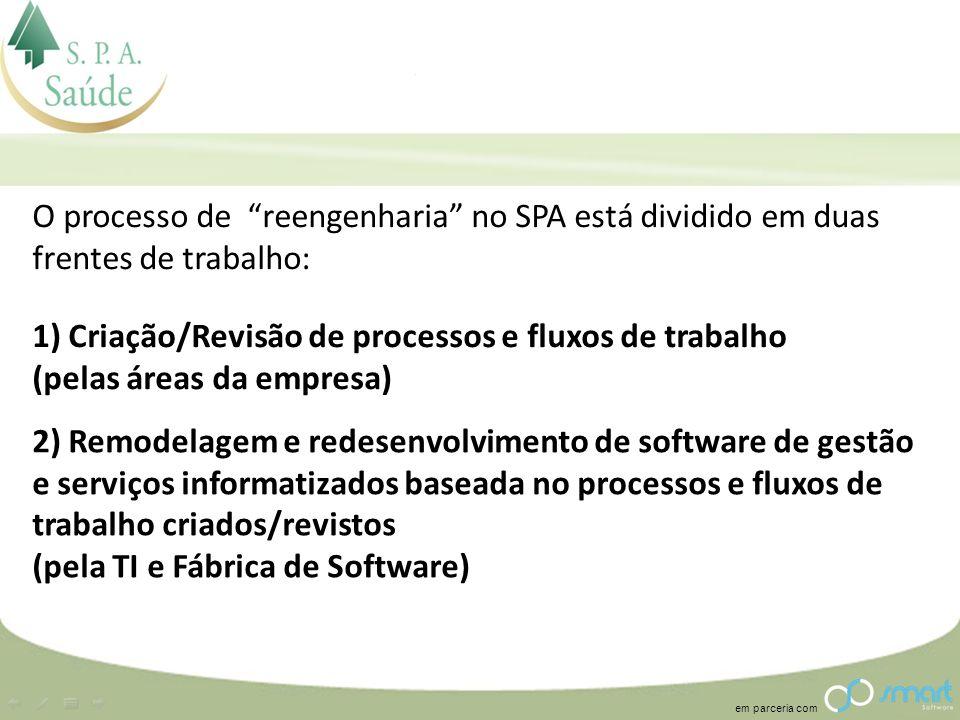 O processo de reengenharia no SPA está dividido em duas frentes de trabalho: