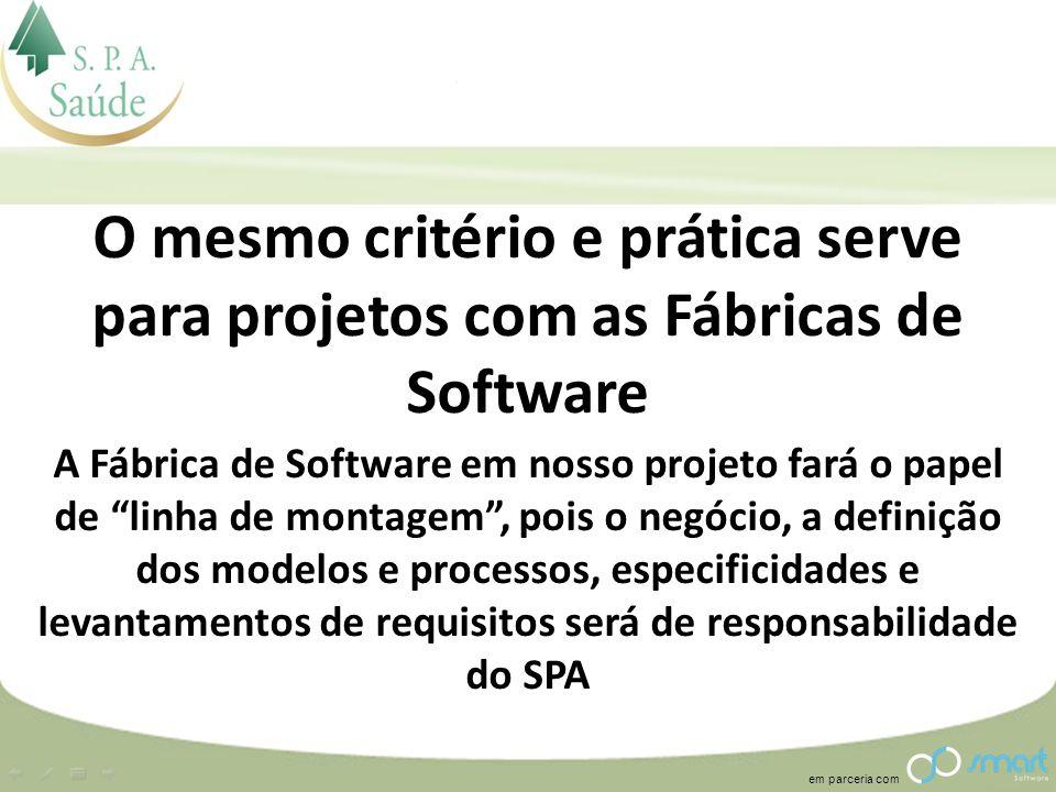 O mesmo critério e prática serve para projetos com as Fábricas de Software