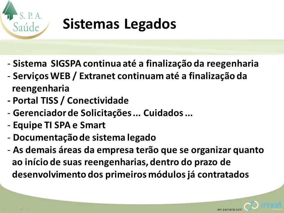 Sistemas Legados Sistema SIGSPA continua até a finalização da reegenharia. Serviços WEB / Extranet continuam até a finalização da.