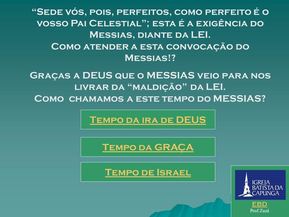 Sede vós, pois, perfeitos, como perfeito é o vosso Pai Celestial ; esta é a exigência do Messias, diante da LEI. Como atender a esta convocação do Messias!
