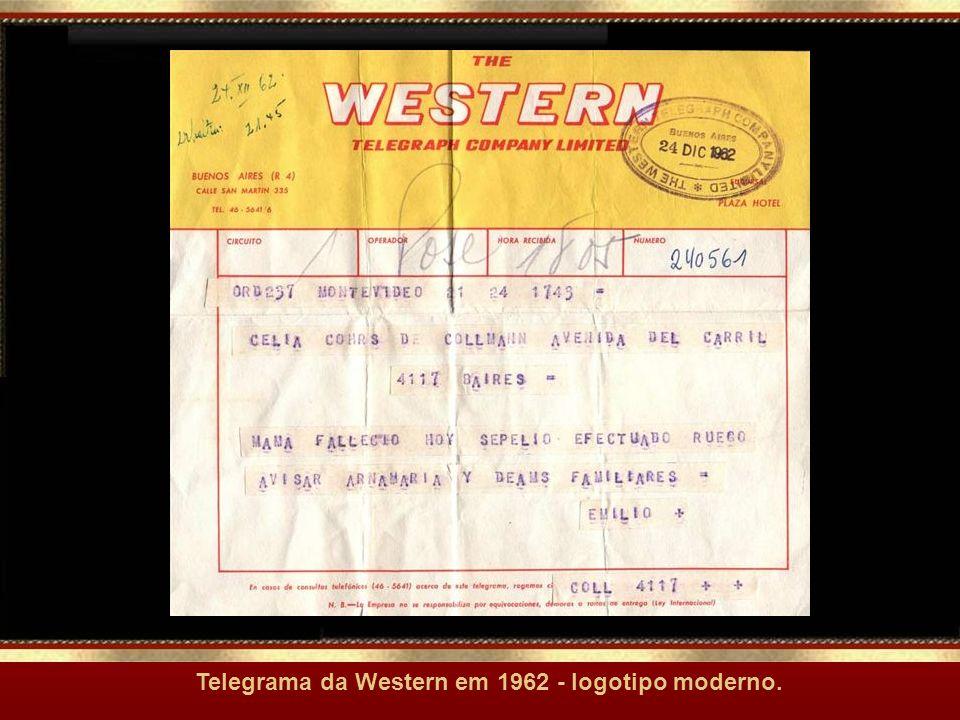 Telegrama da Western em 1962 - logotipo moderno.