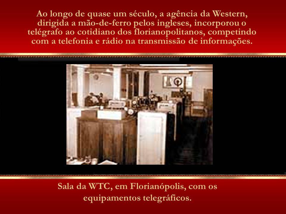 Sala da WTC, em Florianópolis, com os equipamentos telegráficos.