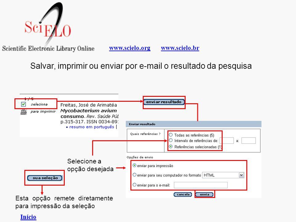 Salvar, imprimir ou enviar por e-mail o resultado da pesquisa