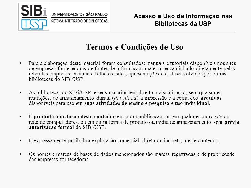 Acesso e Uso da Informação nas Bibliotecas da USP