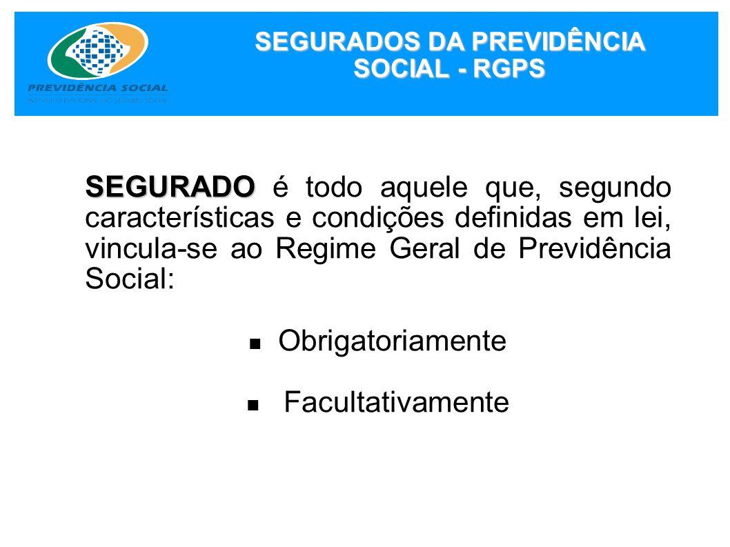 SEGURADOS DA PREVIDÊNCIA SOCIAL - RGPS