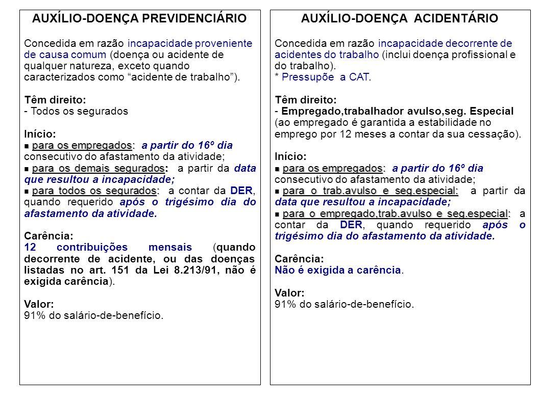 AUXÍLIO-DOENÇA PREVIDENCIÁRIO AUXÍLIO-DOENÇA ACIDENTÁRIO