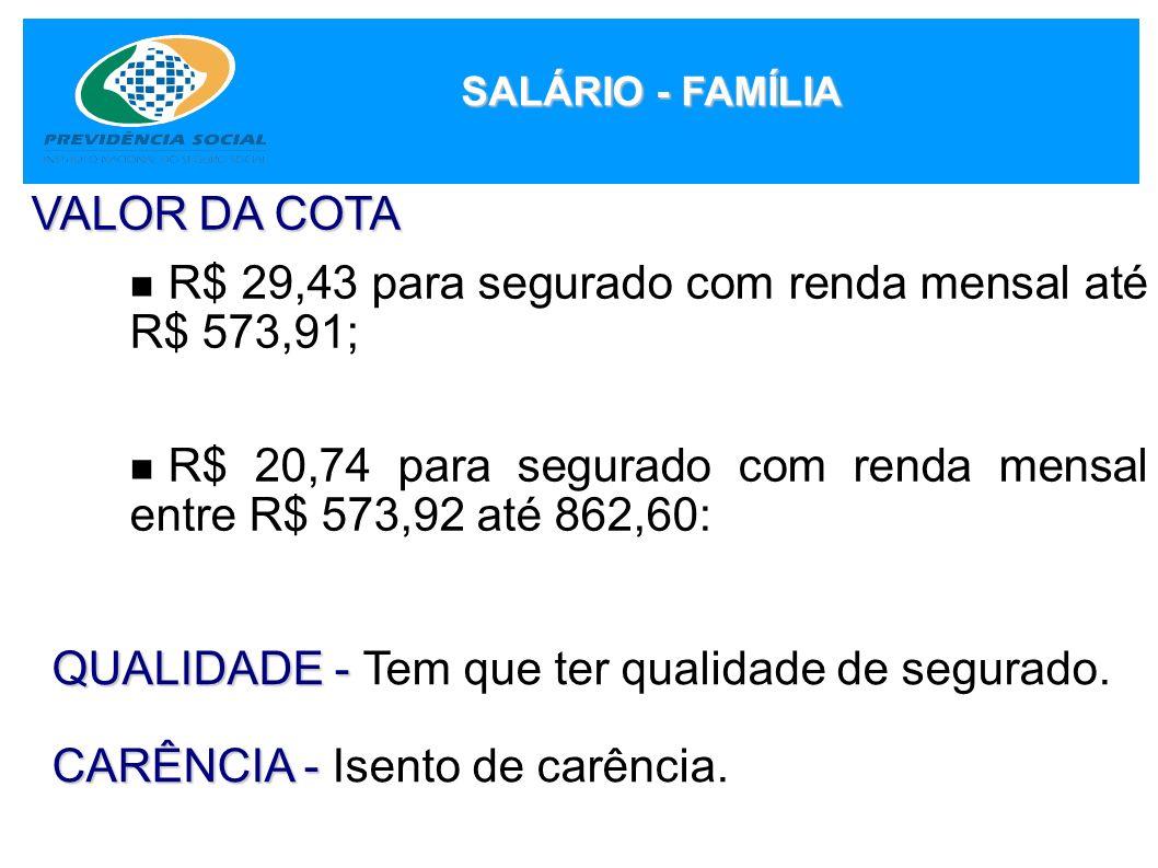 R$ 29,43 para segurado com renda mensal até R$ 573,91;