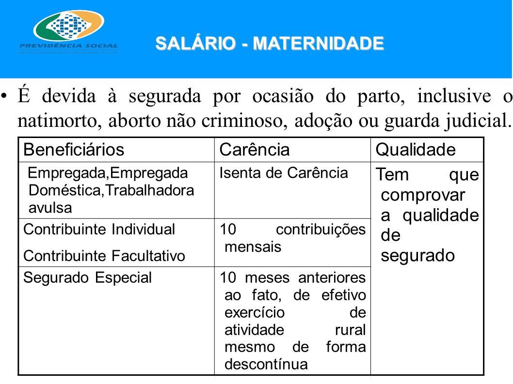 SALÁRIO - MATERNIDADE É devida à segurada por ocasião do parto, inclusive o natimorto, aborto não criminoso, adoção ou guarda judicial.