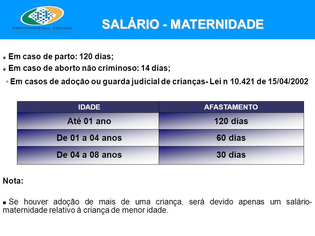 SALÁRIO - MATERNIDADE Até 01 ano 120 dias De 01 a 04 anos 60 dias