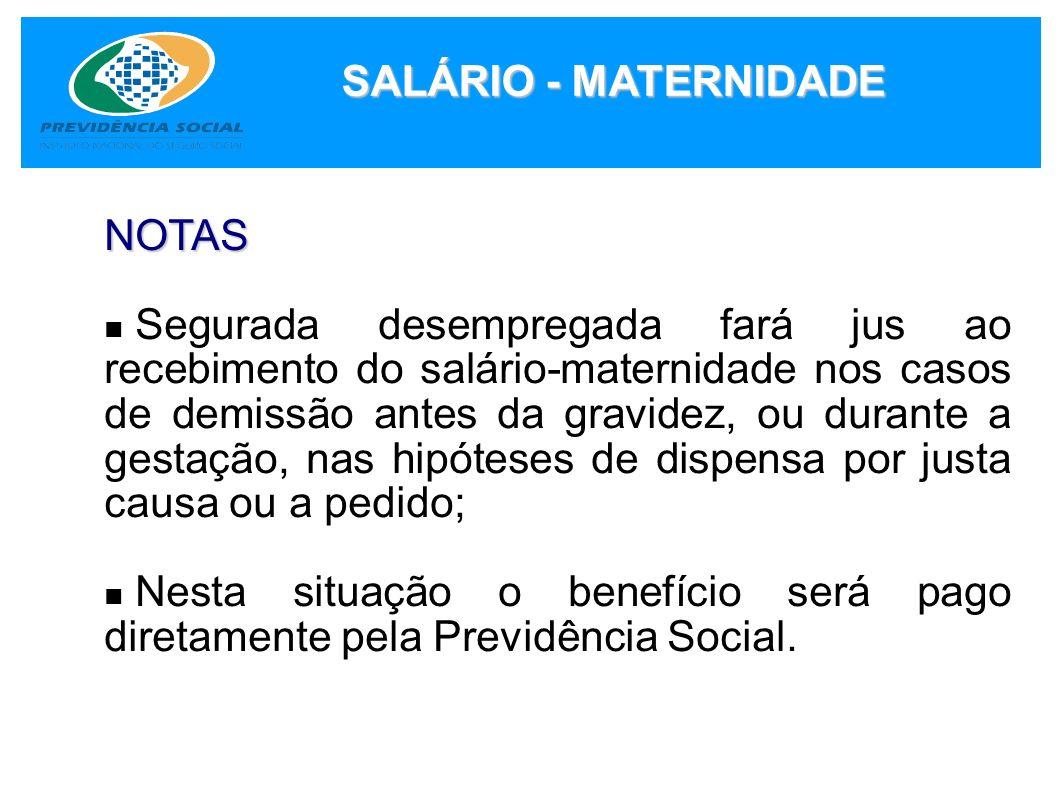 SALÁRIO - MATERNIDADE NOTAS.