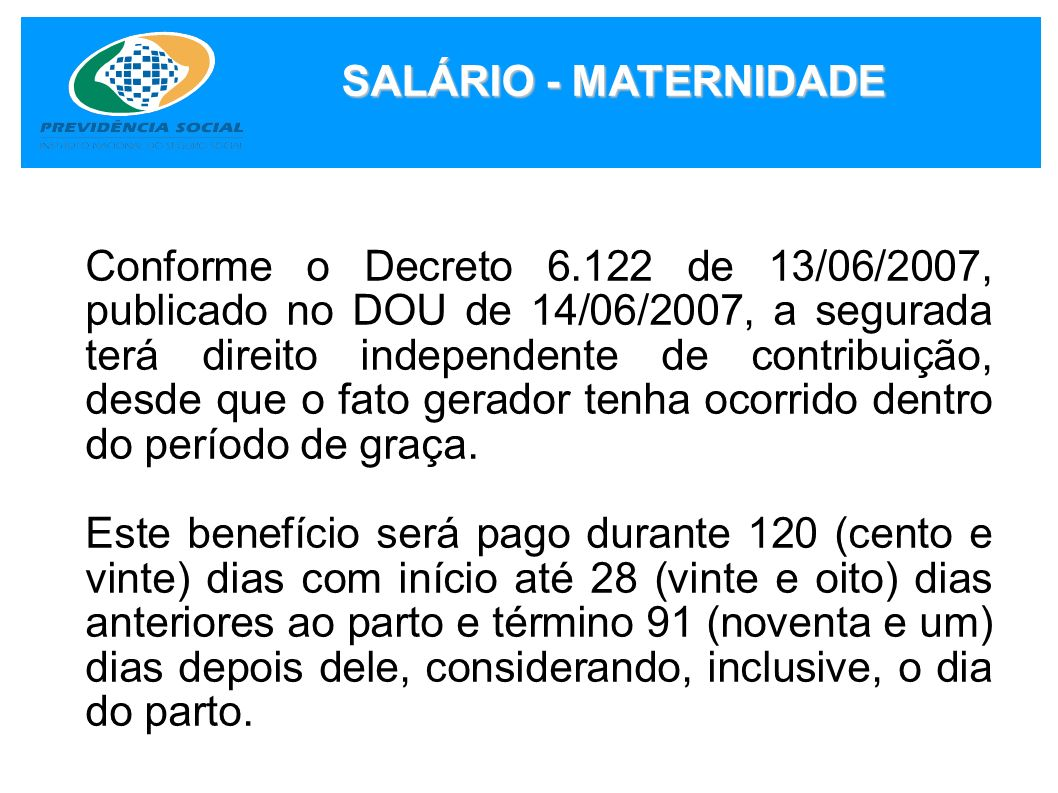 SALÁRIO - MATERNIDADE