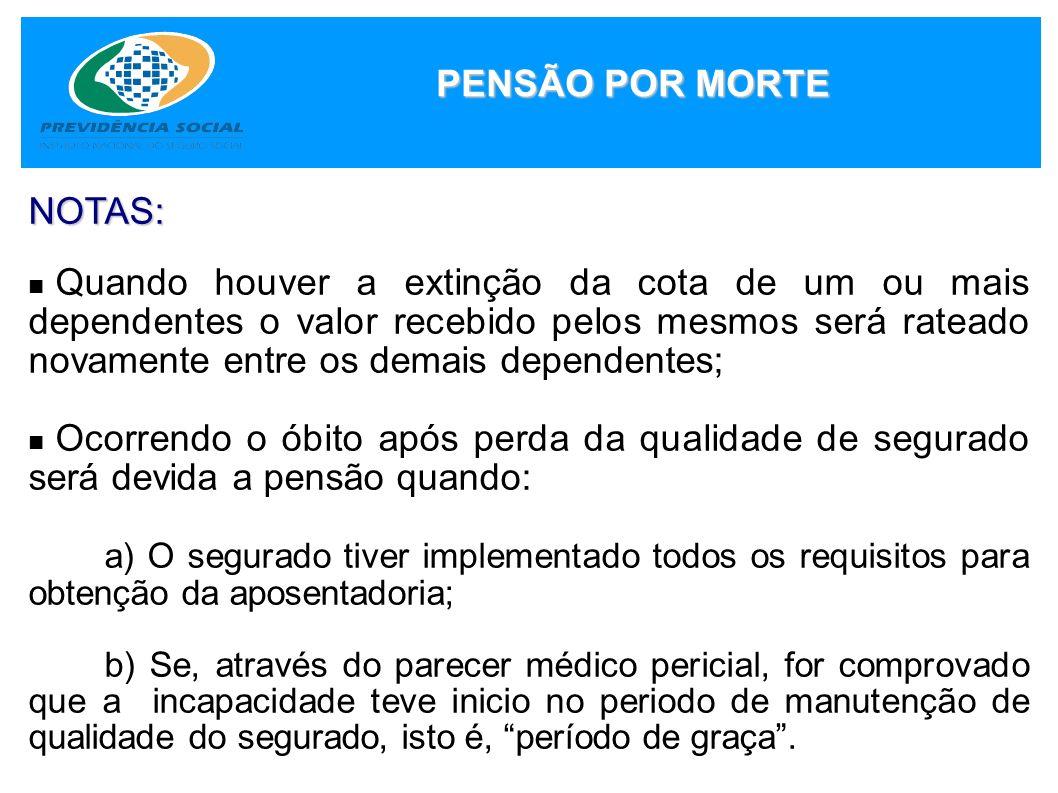 PENSÃO POR MORTE NOTAS: