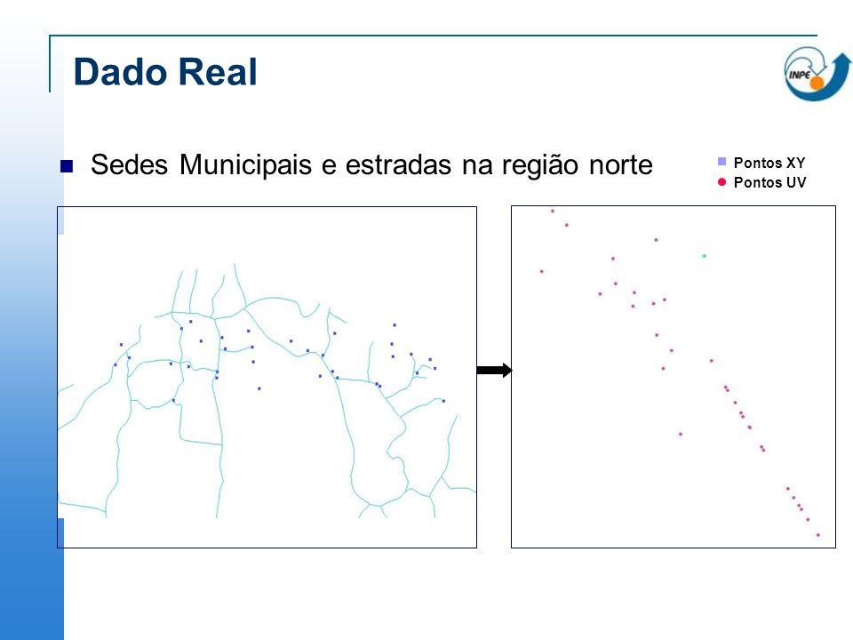 Dado Real Sedes Municipais e estradas na região norte Pontos XY