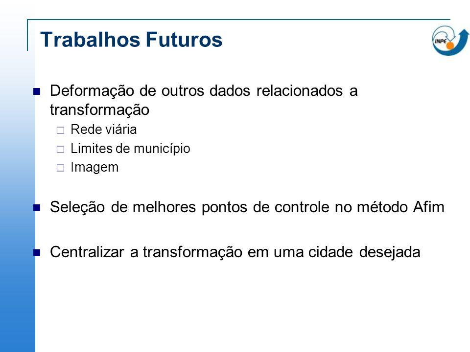 Trabalhos Futuros Deformação de outros dados relacionados a transformação. Rede viária. Limites de município.