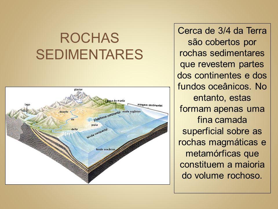 Cerca de 3/4 da Terra são cobertos por rochas sedimentares que revestem partes dos continentes e dos fundos oceânicos. No entanto, estas formam apenas uma fina camada superficial sobre as rochas magmáticas e metamórficas que constituem a maioria do volume rochoso.