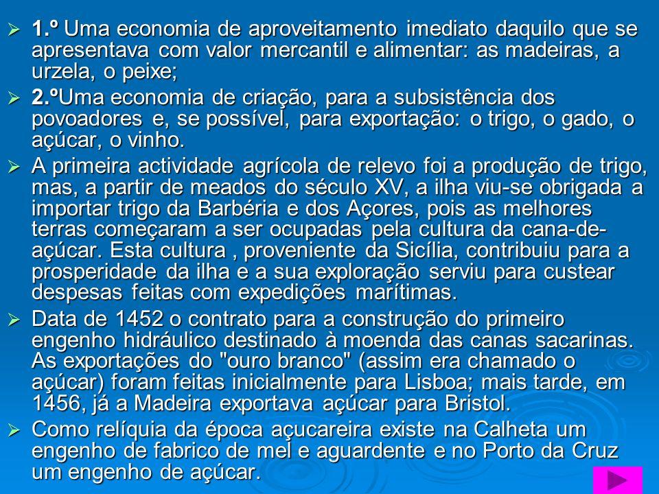 1.º Uma economia de aproveitamento imediato daquilo que se apresentava com valor mercantil e alimentar: as madeiras, a urzela, o peixe;