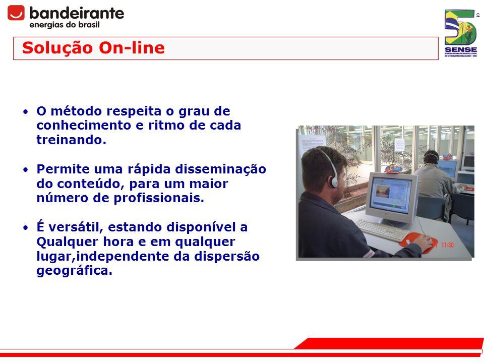 Solução On-line O método respeita o grau de conhecimento e ritmo de cada treinando.