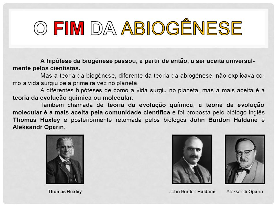 O FIM DA ABIOGÊNESE A hipótese da biogênese passou, a partir de então, a ser aceita universal-mente pelos cientistas.
