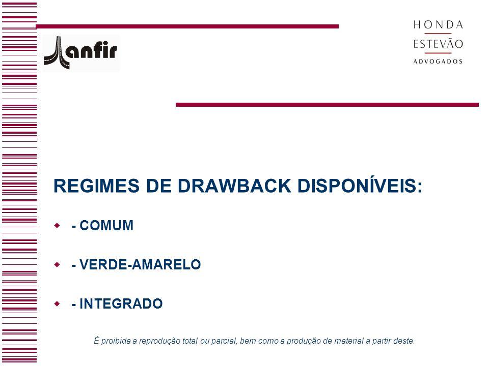 REGIMES DE DRAWBACK DISPONÍVEIS: