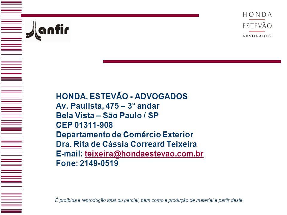 HONDA, ESTEVÃO - ADVOGADOS Av. Paulista, 475 – 3° andar
