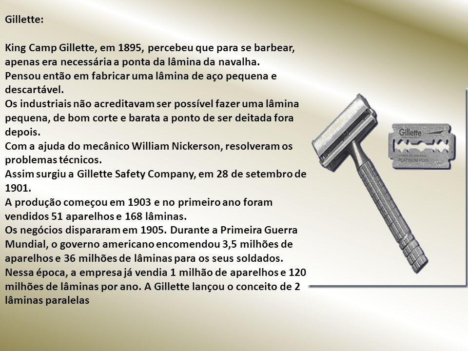 Gillette: King Camp Gillette, em 1895, percebeu que para se barbear, apenas era necessária a ponta da lâmina da navalha.