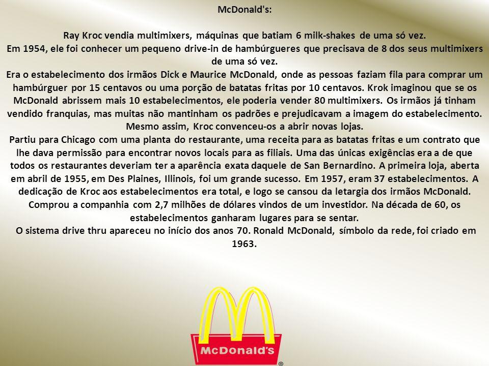 McDonald s: Ray Kroc vendia multimixers, máquinas que batiam 6 milk-shakes de uma só vez.