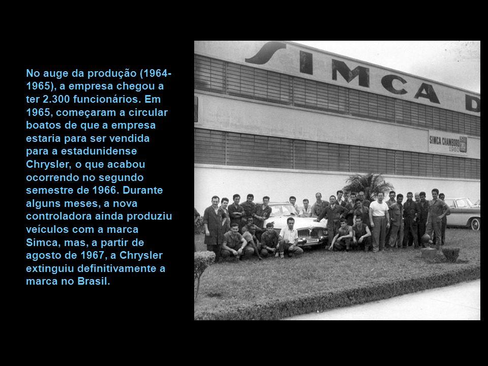 No auge da produção (1964-1965), a empresa chegou a ter 2