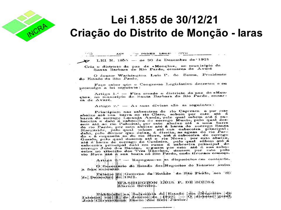Lei 1.855 de 30/12/21 Criação do Distrito de Monção - Iaras