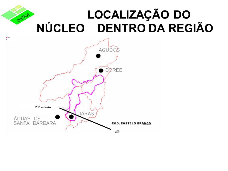 LOCALIZAÇÃO DO NÚCLEO DENTRO DA REGIÃO