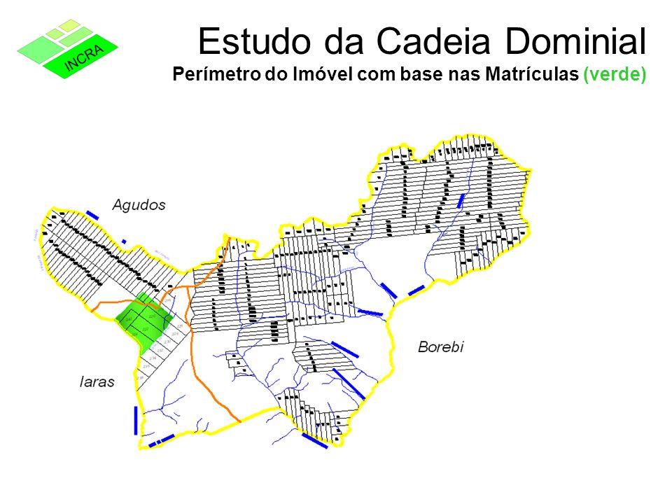 Estudo da Cadeia Dominial Perímetro do Imóvel com base nas Matrículas (verde)